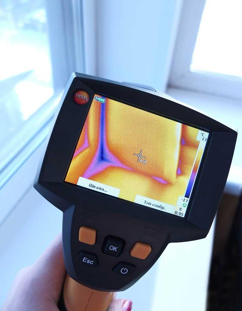 Обследование тепловизором пластиковых окон